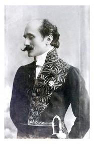 Edmond Rostand, portrait de la collection Félicien Marboeuf. Œuvre d'Alain Rivière, artiste.