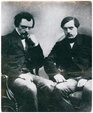 Les frères Goncourt, portrait de la collection Félicien Marboeuf. Œuvre d'Alain Rivière, artiste.