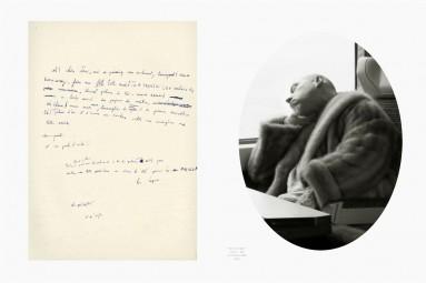 Hubris 1 : un manuscrit et le portrait de son auteur. Œuvre d'Alain Rivière, artiste plasticien.