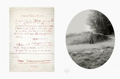 Hubris 2 : un manuscrit et le portrait de son auteur. Œuvre d'Alain Rivière, artiste plasticien.