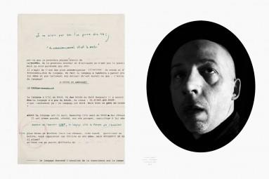 Hubris 3 : un manuscrit et le portrait de son auteur. Œuvre d'Alain Rivière, artiste plasticien.
