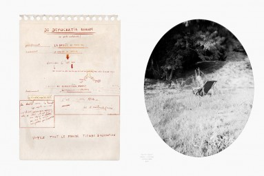 Hubris 4 : un manuscrit et le portrait de son auteur. Œuvre d'Alain Rivière, artiste plasticien.